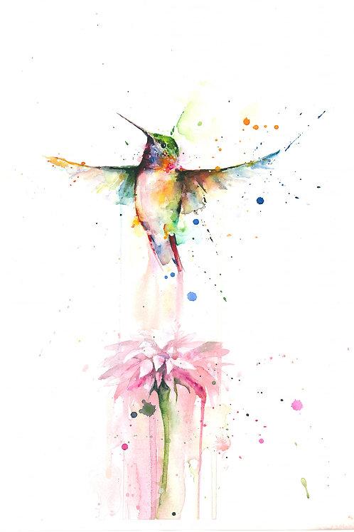 Hummingbird and Dahlia By Mia Riddell