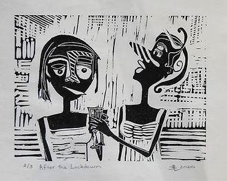 After the Lockdown (linocut print on ric
