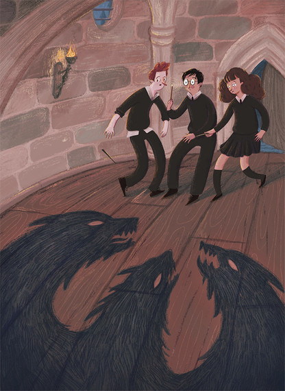 Harry potter and the sorcerers stone fluffy hermione ron fanart illustration hogwarts magic