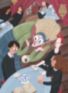 Harry potter and the prisoner of azkaban Trelawney hermione ron fanart illustration hogwarts magic