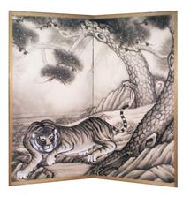 襖屏風『松に虎』