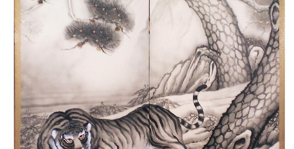 襖屏風『松に虎』 山口渓華