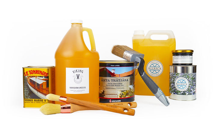 Purified linseed oil products, including oil, varnish, wax, paint and pine tar.