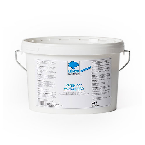 Flat Interior White Cellulose-based Paint by Leinos. 2.5 Liter