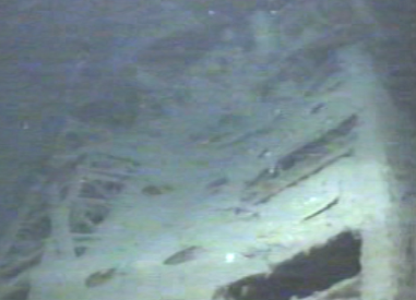 Damaged deck of the U-166 as seen on the floor of the Gulf of Mexico