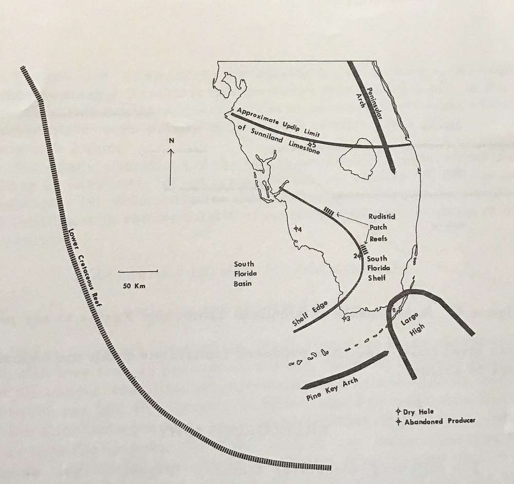 Sears, Stephen O.  (1974)  Facies Interpretations and Diagenetic Modifications of the Sunniland Limestone, South Florida.  Southeastern Geology, Vol. 15, No. 4, p. 177-192.  Published by Duke University Press.