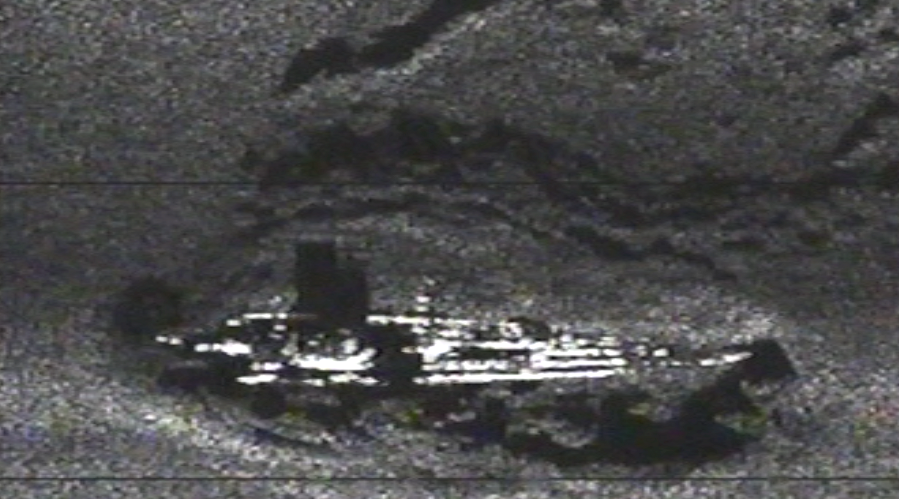 Sidescan sonar image of the U-166