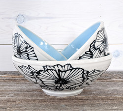 Sky Blue Floral Bowl Set