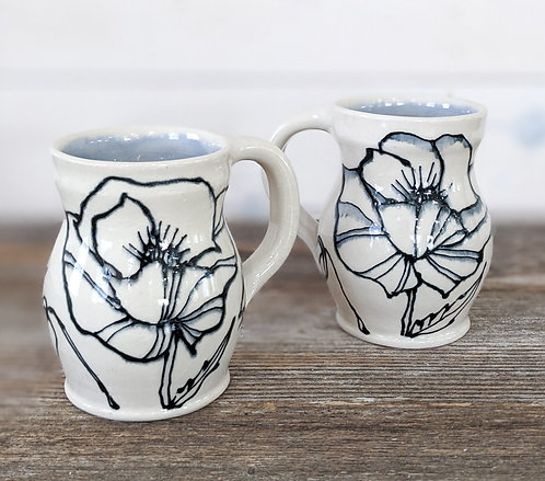 Lilac Poppy Mug Set (2 Mugs)
