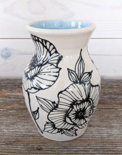 Sky Blue Floral Vase