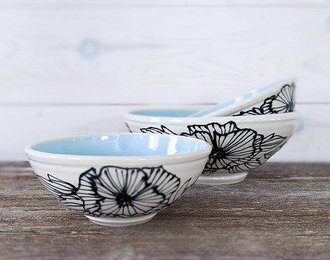 Sky Blue Floral Bowl Set