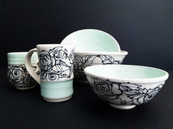 Mint Rose Dinnerware Set
