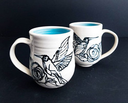 Sky Blue Hummingbird Mug Pair