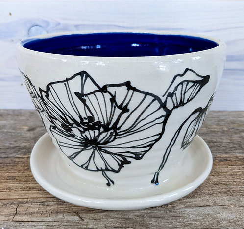 Cobalt Poppy Planter