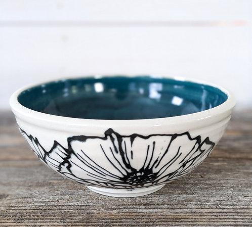 Viridian Floral Bowl