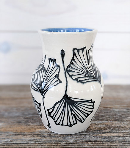 Cobalt Ginkgo Vase #1