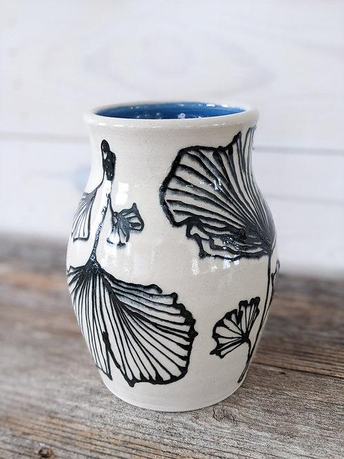 Cobalt Ginkgo Vase #3