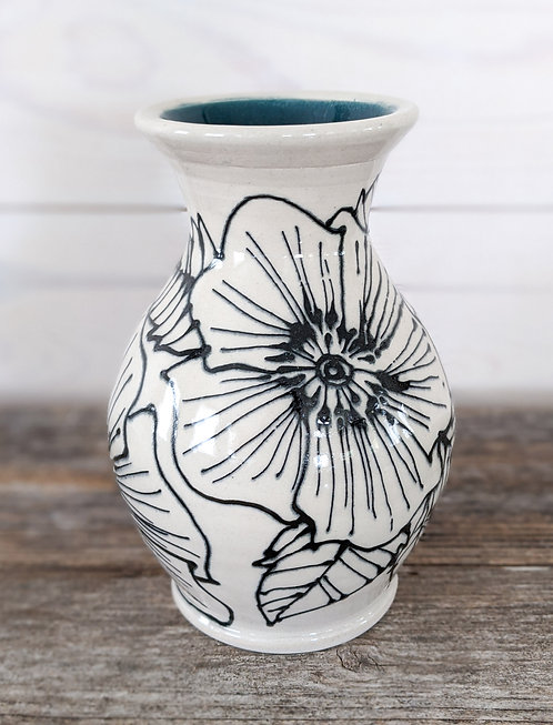 Viridian Floral Vase #1