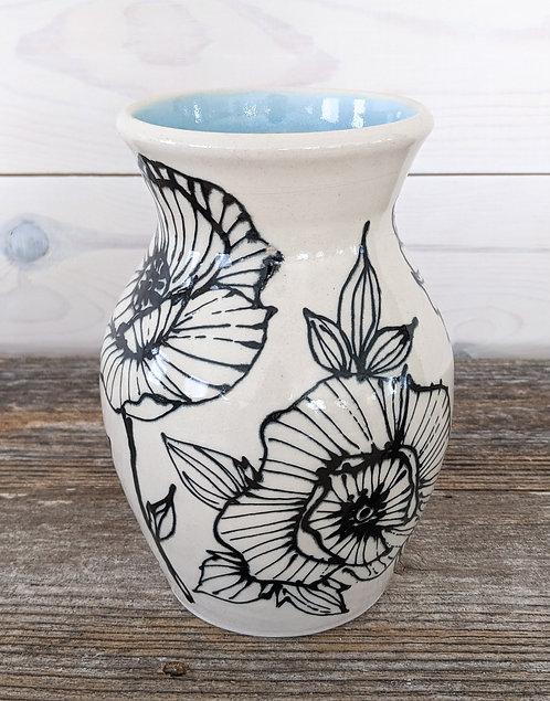 Sky Blue Floral Vase #2