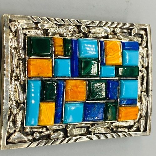 MULTI-COLORED BELT BUCKLE BY AARON BITSUI