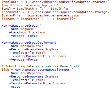 Use PowerShell to Build an ARM Template as a Job