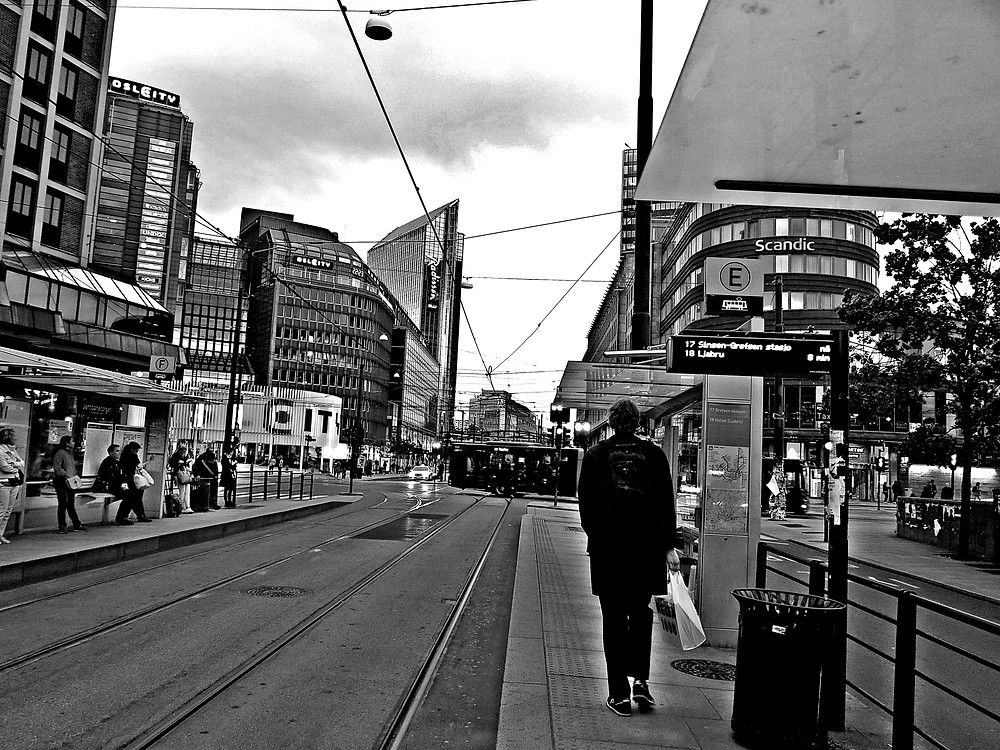 Oslo Norway downtown tram summer