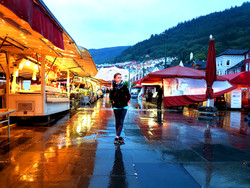 fellow hornist Jenny at the fish market, Bergen, 2015