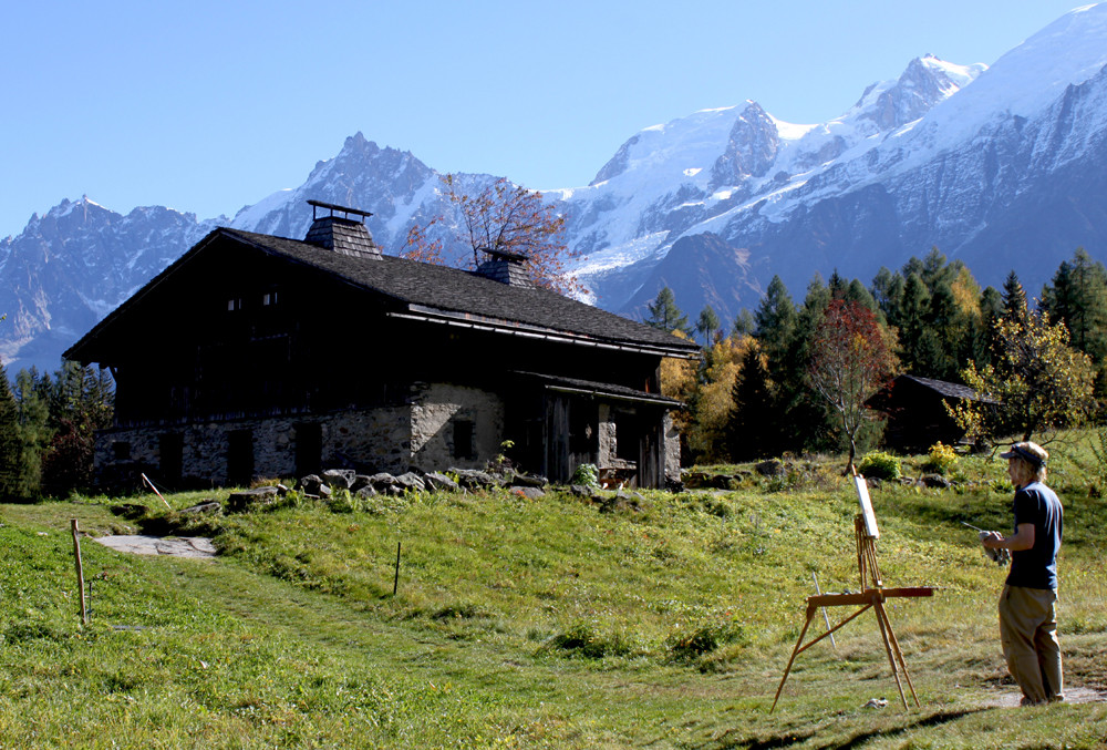 En plein air mountain painting, Chamonix Mont Blanc