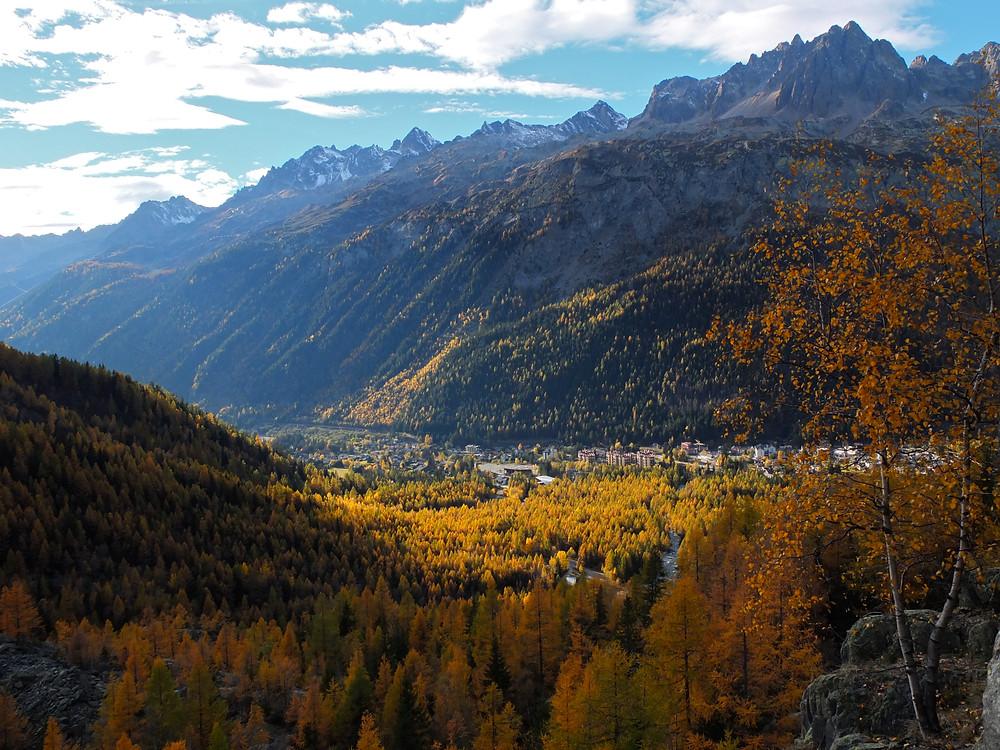 Autumn colours in Argentiere, Chamonix Valley