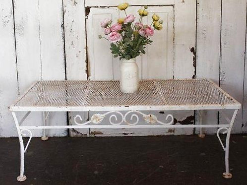 Shabby Rusty White Outdoor Metal Low Table Vintage