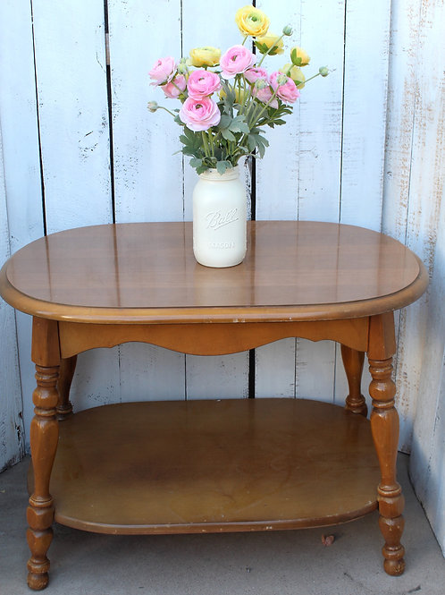 Vintage Brown Wooden Side Table / Coffee Table
