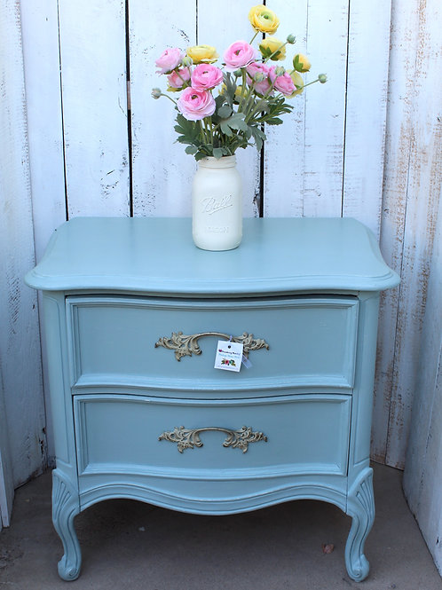 Dixie Blue French Provincial Dixie Nightstand / Side Table Vintage