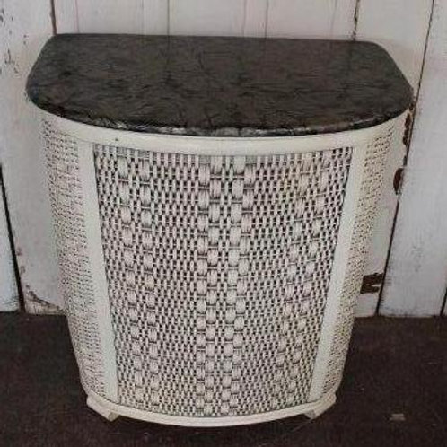 Vintage White Black Laundry Basket Hamper