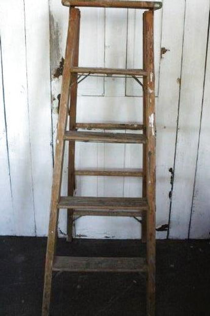 Vintage Heavy Wooden Ladder Gas Co