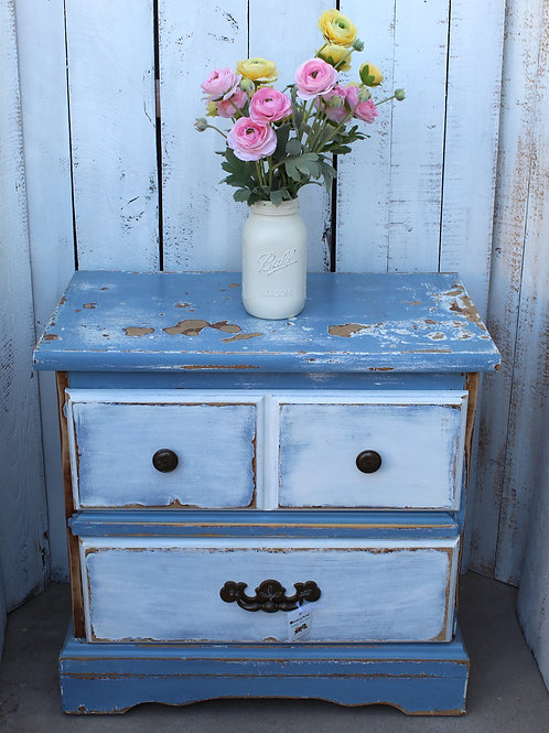 Shabby Blue Brown Night Stand Side Table