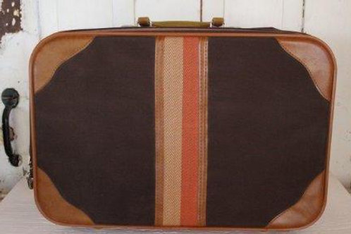Vintage Carry On Retro Suitcase Briefcase Brown