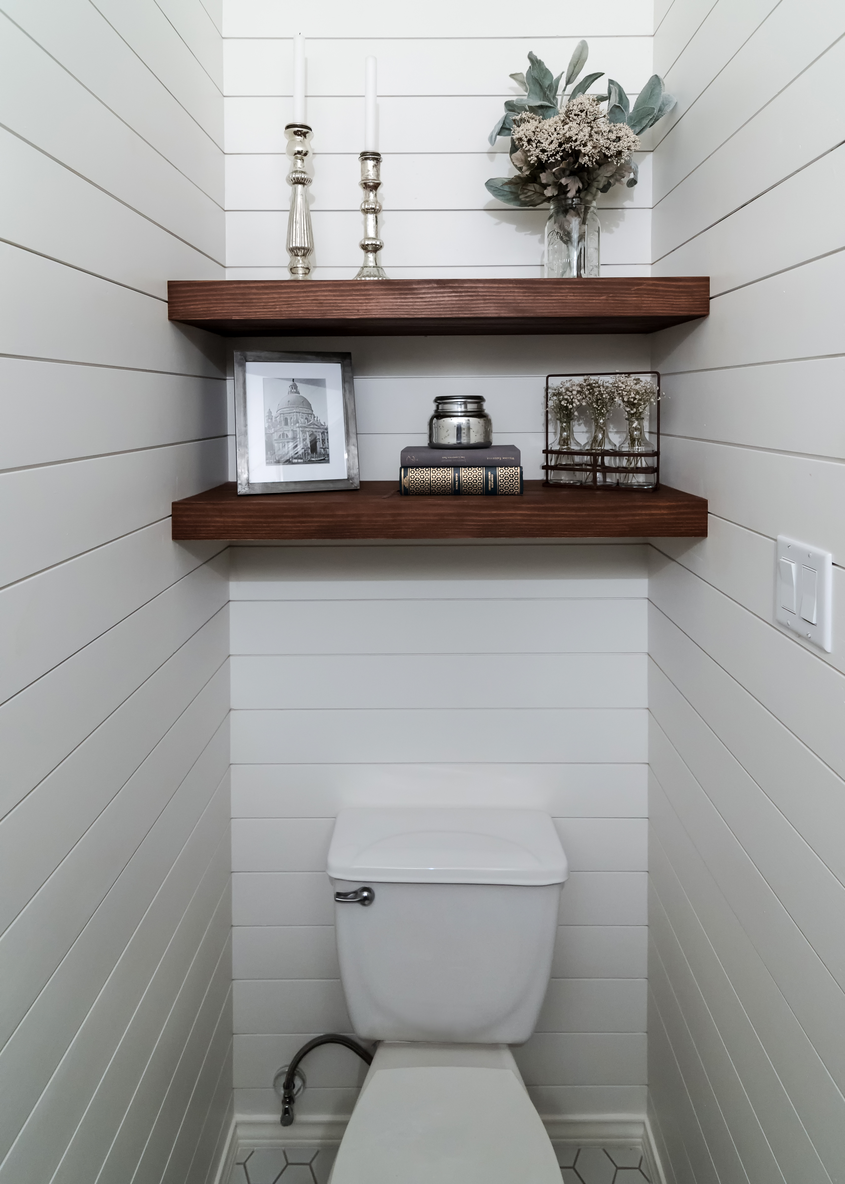 Cerulean Concepts Powder Room Shiplap and Shelving