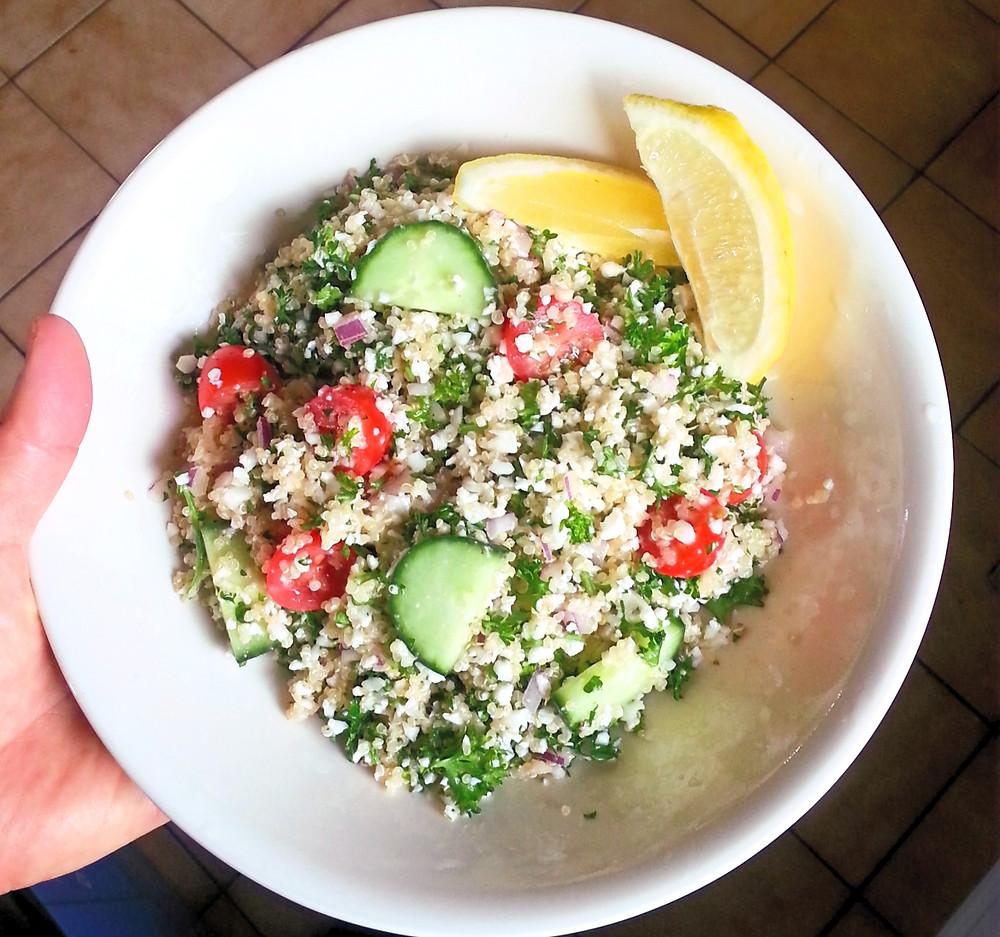 a bowl of tabbouleh salad