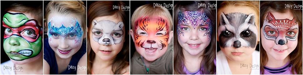 Daizy Design, Face Painting, Wellington Face Painters, Ninja Turtle, Frozen Face Paint, Polar Bear Face Paint, Tiger Face Paint, Detalied Face Paint, Raccoon Face Paint, Fancy Fox Face Paint