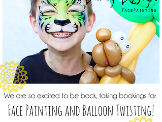 We're back! Now taking bookings for Face Painting and Balloon Twisting!