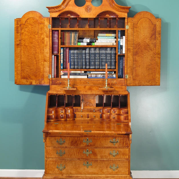 Bookcase on Chest, Curly Maple