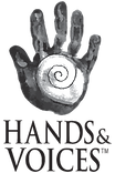 Hands & Voices Logo, white cochlea in the palm of a grey handprint