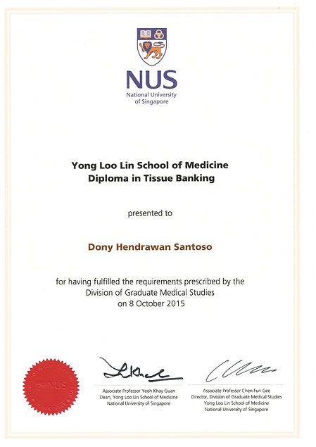NUS certificate of Diploma in Tissue Banking