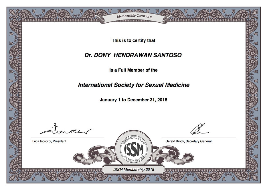 Certificate of International Society for Sexual Medicine