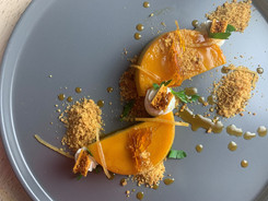 Sweet Corn Flan with Honeycomb Caramel and Ginger Cookie