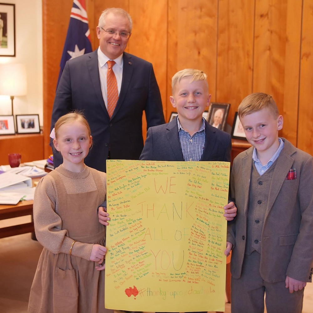 Scammell kids with the Prime Minister, Scott Morrison