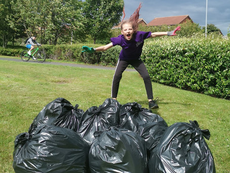 9-year old Sophie picked over 240 bin bags of litter to keep her town, Blyth, clean