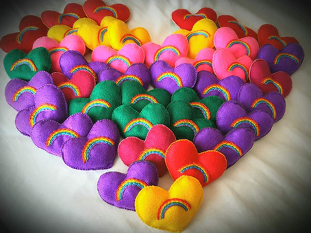 Crafting for COVID, a group of volunteers gave away sewed heart tokens to show compassion & empathy