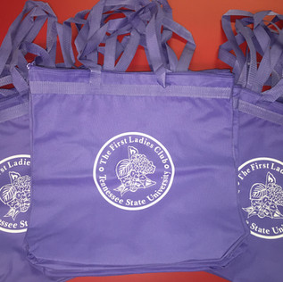 WHITE PRINT ON LAVENDER TOTE BAGS