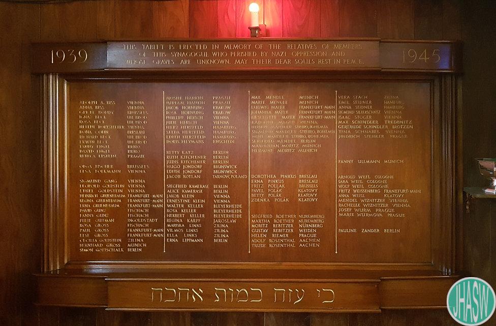 Cardiff Reform Synagogue Memorial Tablet